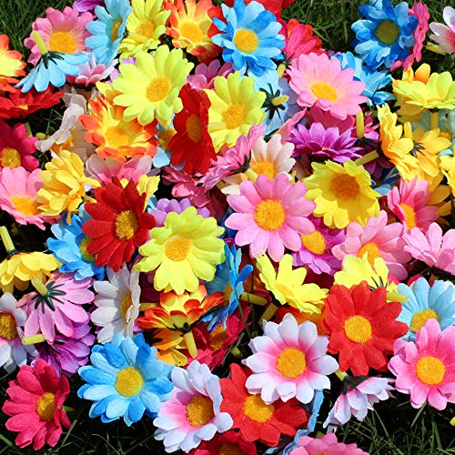MagicZoo 100Pcs Artificial Sunflower Assorted Fabric Floral Head Fake Sunflowers Petals Home Office Party -