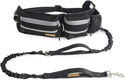 """Phone Pocket Water Bottle Holder FURRY BUDDY Hands Free Dog Leash Fits All Waist Sizes from 28/"""" to 48/"""" Dog Walking Training Belt Shock Absorbing Bungee Leash up to 180lbs Large Dogs"""