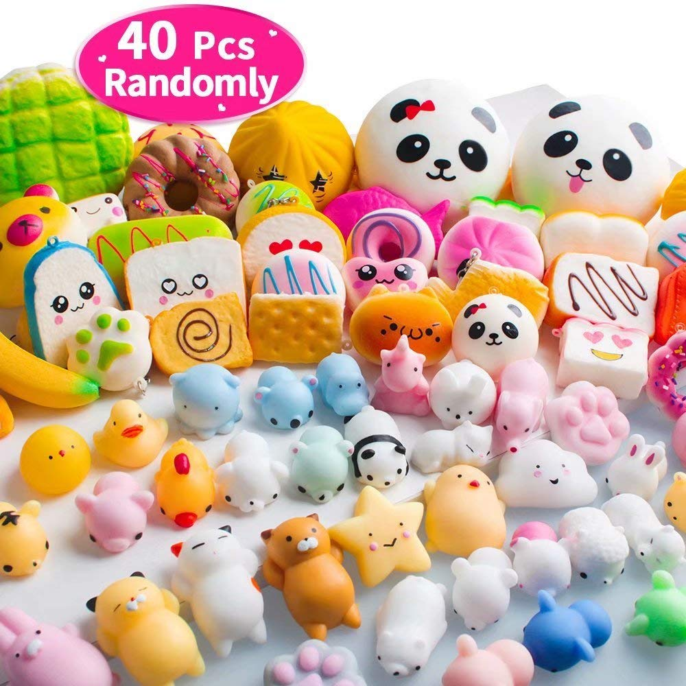 40PCS MOMOTOYS Squishies Mochi Mini Squishies Toys 20 Kawaii Animal Squishies 20 Food Squishy Pinata Fillers Stress Relief Toys Cat Unicorn Squishy Birthday Gifts Kids Party Favors by MOMOTOYS