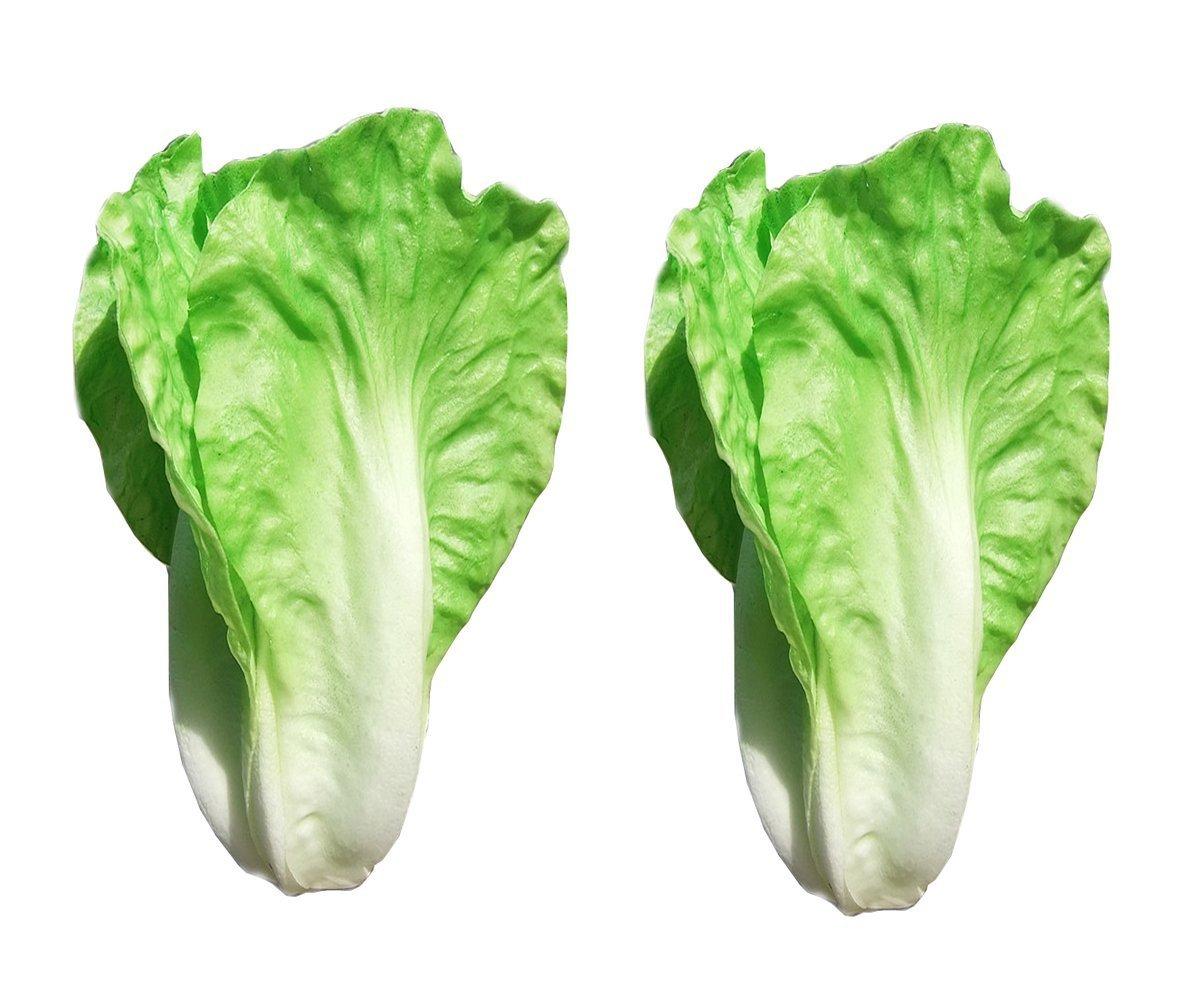Yuan Faux Lettuce Organic Green PU Artificial Vegetable Fake Food House Kitchen Party Decor Home DIY 2Pcs