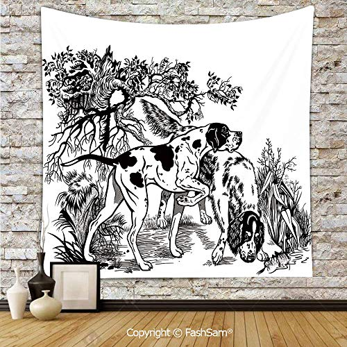 FashSam Hanging Tapestries Hunting Dogs in Forest Monochrome Drawing English Pointer and Setter Breeds Wall Blanket for Living Room Dorm Decor(W51xL59) ()