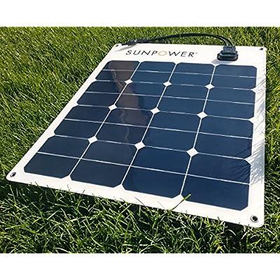 SunPower 50 Watt Flexible Monocrystalline High Efficiency Solar Panel : Garden & Outdoor