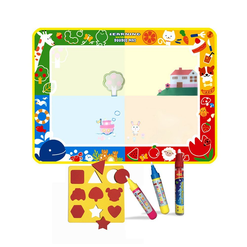Wholethings Juguete del bebé,magia de agua(100*73 CM) con 3 plumas,colorear estera de dibujo,Niños Pintura al agua Doodle Scribble Boards-Animal