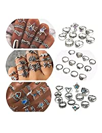 ANGELANGELA Assorted 4Pc - 49Pc Boho Knuckle Rings Set for Women, Vintage Retro Crystal Bohemian Midi Rings, Joint Nail Band Cuff Toe Statement Finger Rings