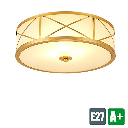 F40 Cm Copper Creative Modern Ceiling Lamp White Fabric Round Design