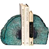 AMOYSTONE Teal Bookends Agate Heavy Stone Book Ends for Shelves Decor with Rubber Bumpers Small(1 Pair, 2-3 LBS)