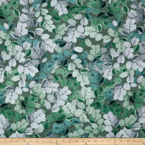 Benartex 0567522 Kanvas Essence of Pearl Sheer Leaves Green Metallic Silver Fabric by The Yard, ()