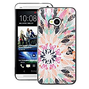 A-type Arte & diseño plástico duro Fundas Cover Cubre Hard Case Cover para HTC One M7 (Flower Drawing Abstract Pastel)