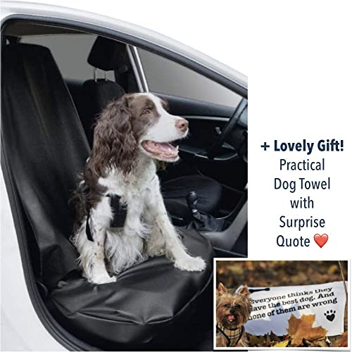 PawMyLove EU-Made Dog Front Seat Cover Made of Easy to Clean Artificial Leather Protect Seat of Scratches, Fur, Dirt Durable, Waterproof, Antiodor Lovely Surprise-Heart-Melting Quote Towel