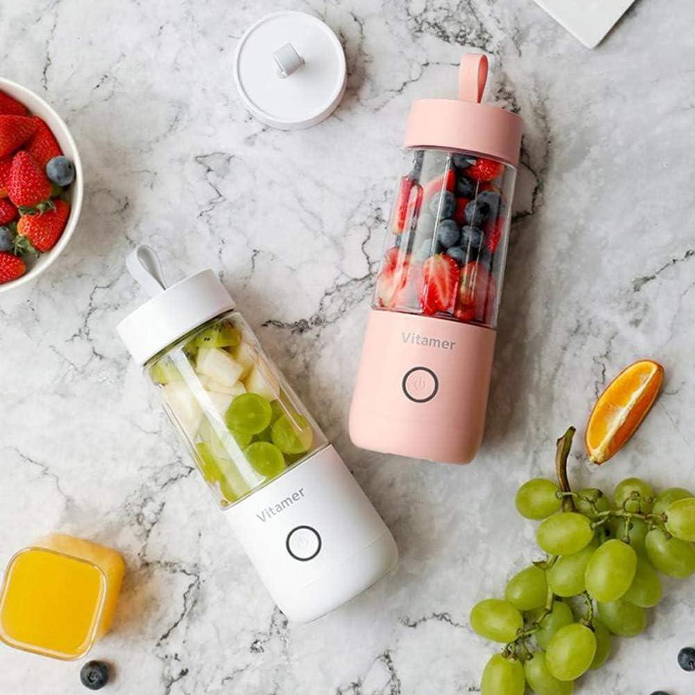 Portable Juicer Cup MéLangeur De Fruits éLectrique Usb Juender Blender Rechargeable 4 Blades Superb Mixing Nettoyage En Un Clic Pour Les Sports De Plein Air (350Ml),Pink White