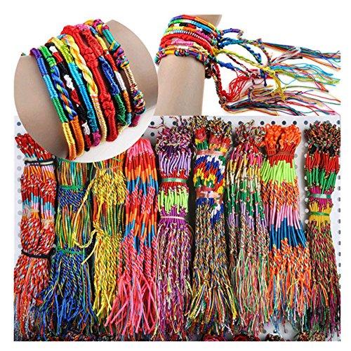 (Challyhope Clearance Big Sale! Wholesale Jewelry 100Pcs Lot Braid Strands Friendship Cords Handmade Bracelets Wristbands)