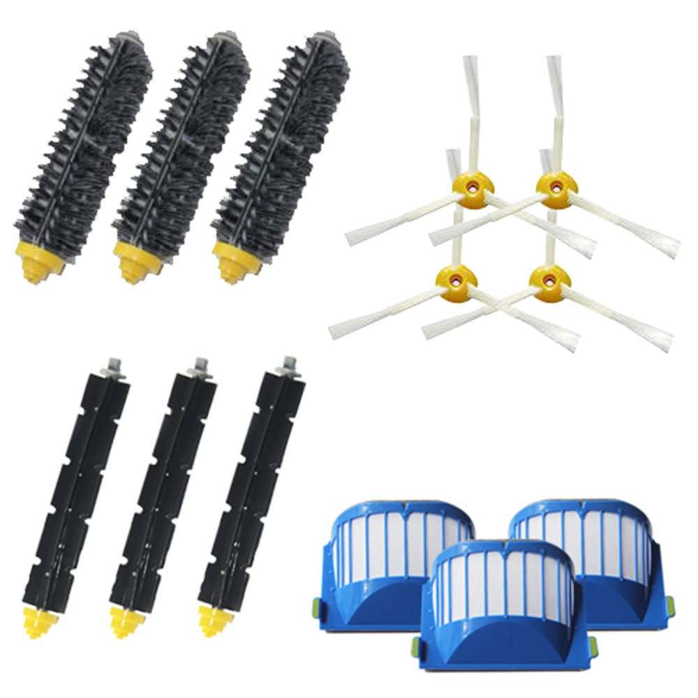 VacuumPal Replacement Parts Kit Including Bristle & Flexible Beater Brush & Armed-3 Side Brush & Filters for iRobot Roomba 600 Series 614 620 630 650 660 665 690 Vacuum Cleaner Accessory by VacuumPal