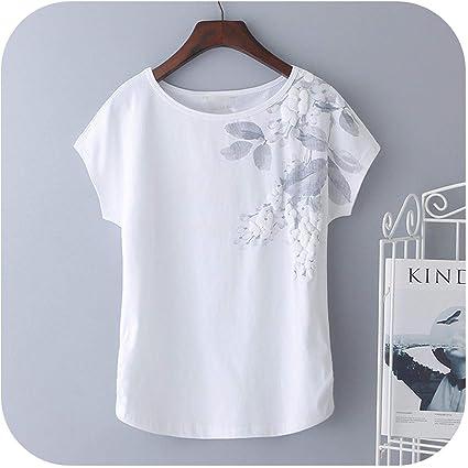 2020 Mujeres del Verano Camiseta de algodón Tops Camisa Suelta de Manga Corta T Mujer Blanca Bordado Camiseta básica de Gran tamaño M 4XL: Amazon.es: Ropa y accesorios
