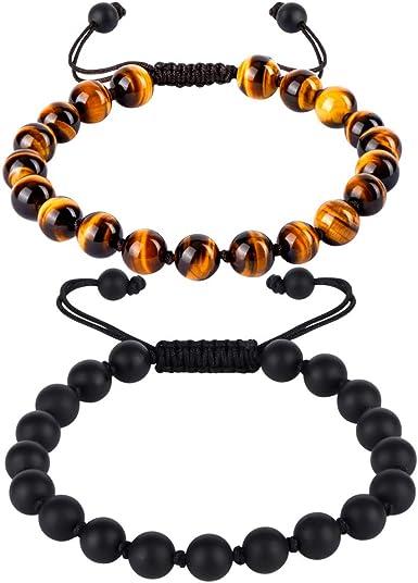 Men\u2019s Hand Crown Bracelet Natural Stone Unique Gift Healing Red tiger Eye Hematite Black Onyx Black Tourmaline Essential Oil Bracelet