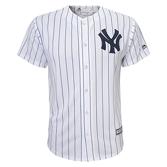 Majestic Kid s MLB New York Yankees White With Navy Stripes Baseball Jersey  (5 6 f2386a9d995