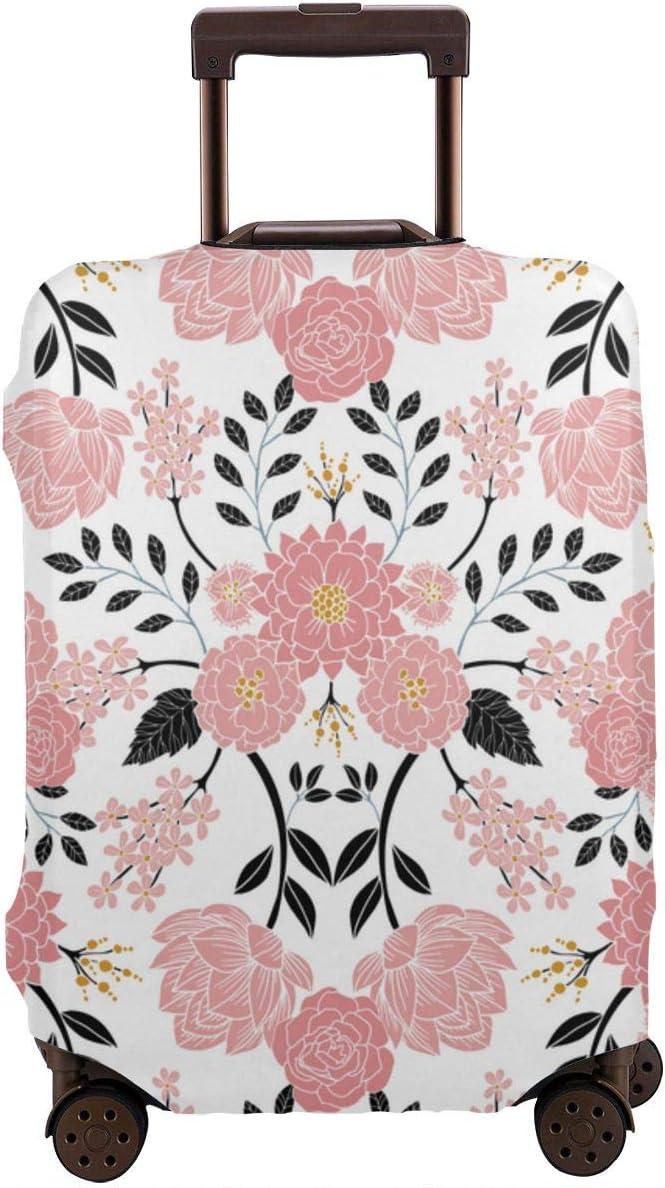 Funda para Maleta de Viaje con diseño Floral, Color Rosa, Blanco, Negro, Azul y Amarillo, para Maleta de 26 a 28 Pulgadas