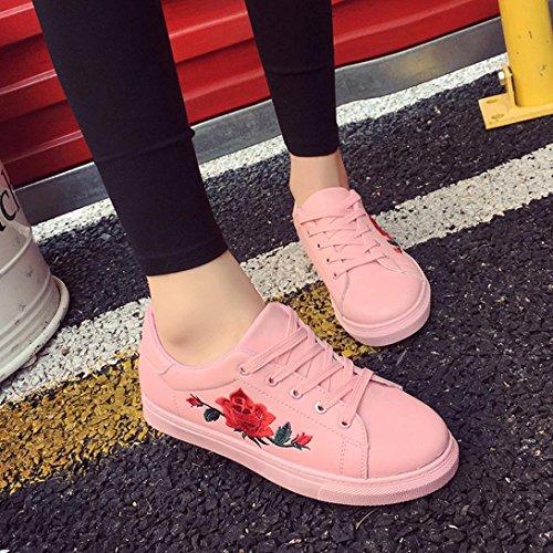 Sportschuhe Damen Rosa Winter Btruely Schuhe Mädchen Herbst Schuhe Stickerei Blumen Riemen Mode Sneakers 8Cwwf57q