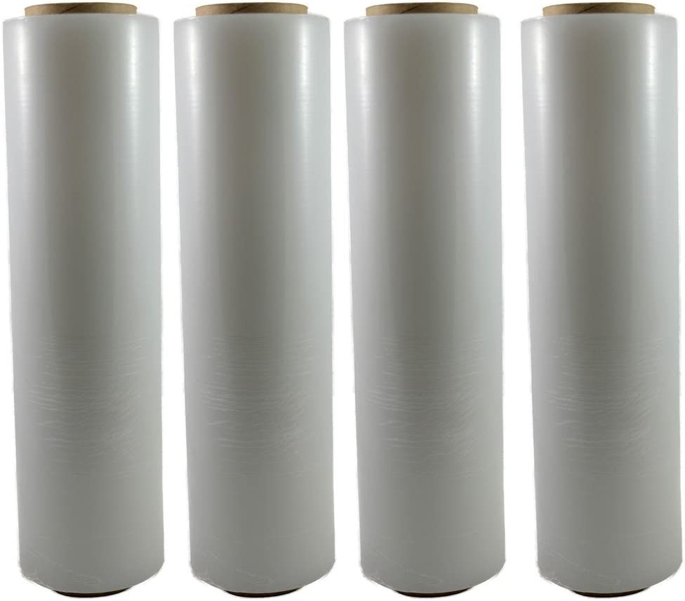 18 Inch X 1200 feet Tough Pallet Shrink Wrap, 80 Gauge Industrial Strength, Commercial Grade Strength Film, Moving & Packing Wrap, For Furniture, Boxes, Pallets (4-Pack)