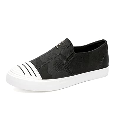 Espadrilles Mens Canvas Shoes Casual Shoes Outdoor Exercise Sneakers Flat Loafers Deck Shoe (Color : Black Size : 40)