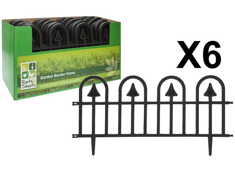 ALANNAHS ACCESSORIES Set Of 6 Black Garden Flower Bed Spike Lawn Grass Edge Path Border Fence 60X30cm