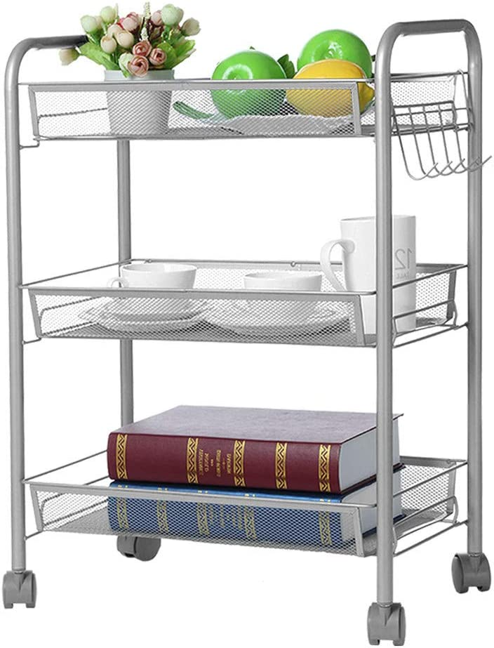 Homedecor 3-Tier Mesh Wire Basket Rolling Cart Kitchen Storage Cart with Wheels Shelving 17.7 L 10.6 W 24.8 H 45 27 63 cm