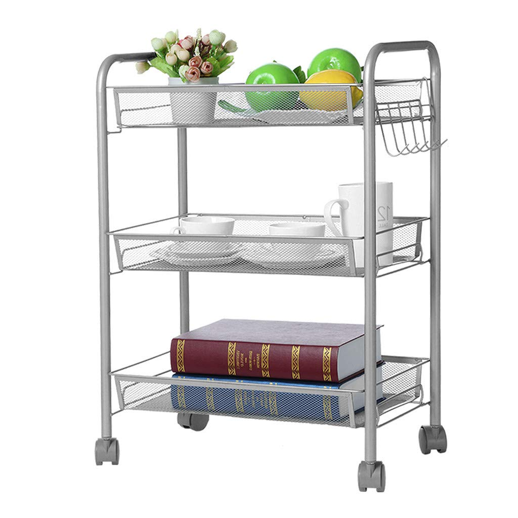 DD-upstep 3-Tier Rolling Kitchen Storage Cart - Mesh Wire Basket Cart with Wheels Shelving, Multi-Function Tool Cart Kitchen Storage, Wire Basket Shelf Trolley(Silver)