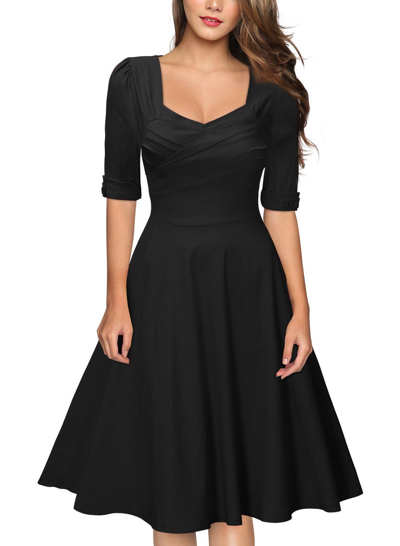 MiusolU+00AE  Women's Retro Hepburn Style Half Sleeve Swing Bridesmaid Dress (Medium, Black)