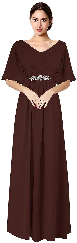 Dark Burgundy VaniaDress Women V Neck Half Sleeveles Long Evening Dress Formal Gowns V265LF