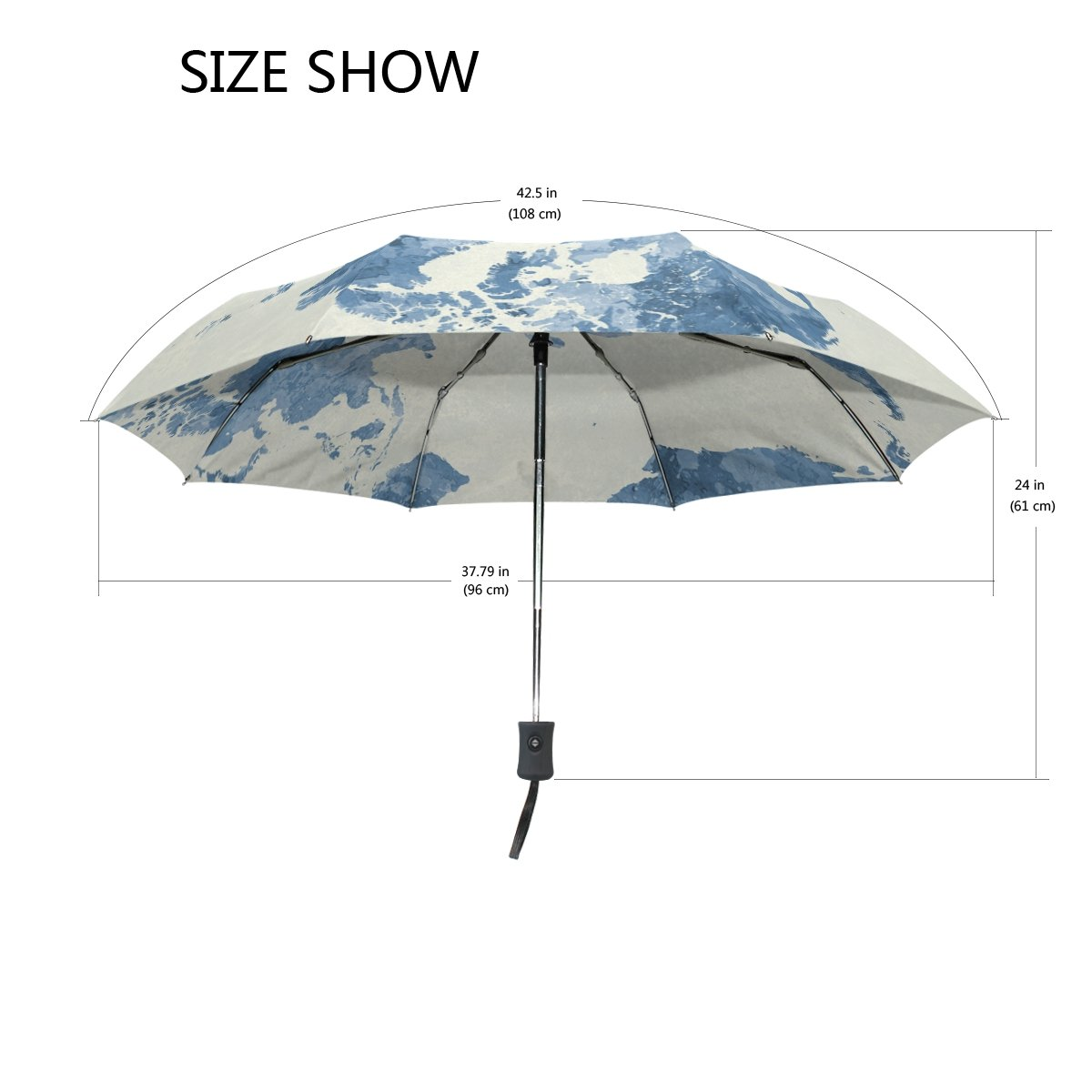 Lavovo watercolor blue world map umbrella double sided canopy auto lavovo watercolor blue world map umbrella double sided canopy auto open close foldable travel rain umbrellas amazon sports outdoors gumiabroncs Gallery
