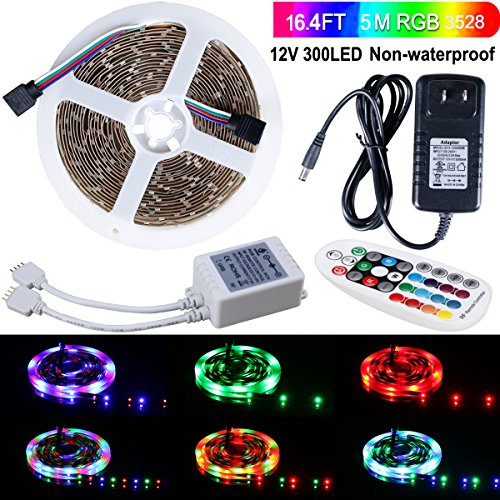 SPARKE LED Strip Lights Non-Waterproof 16.4 Ft (5M) 300leds 60leds/m Flexible Color Changing RGB 12V SMD3528 LED Tape Light Kit with RF Remote and Power Supply