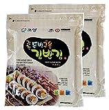 100 Sheets( 50 Sheets x 2 ), Korean Roasted Seaweed Premium Yaki Sushi Nori Gimbap Roll, Vacuum Packed, Full Size