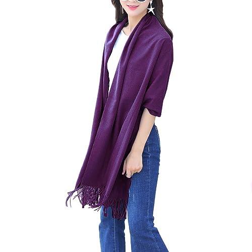 Isassy–elegante pashmina invernale da donna, lunga, misto cashmere, tinta unita