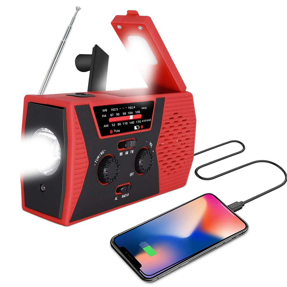 [2019 Upgraded Version] Portable Radio, Weather Radio with LED Flashlight, SOS Alarm Solar Hand Crank Emergency Radio, 2000mAh Power Bank for Smart Phone, AM/FM NOAA Radio, 6 LEDs Reading Lamp by AOXLANT