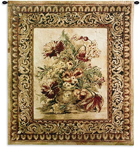 Porto Sienna by Liz Jardine | Woven Tapestry Wall Art Hanging | Decorative Urn with Floral Filigree | 100% Cotton USA Size 53x40 (Silk Wool Tapestry)