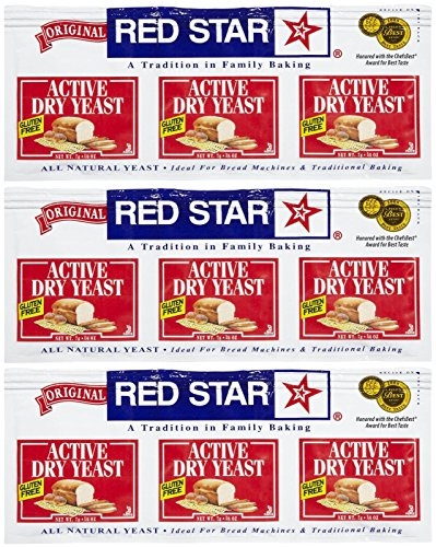 Red Star GlutenFree Active Dry Yeast, 0.75 oz, 3 ct, 3 pk (Star Yeast Dry Red)