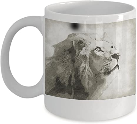 Lion Mug African Lion Portrait Mane Sketch White Ceramic Coffee Tea Cup For Big Game And Animal Lovers Kitchen Dining