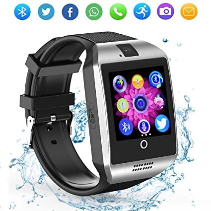 Jiping Bluetooth Smart Watch Q18 Touch Screen with Camera SIM/TF Card Slot Watches for Android iOS Samsung Motorola Men Women Kids (Silver)