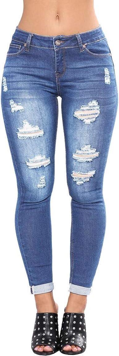 Zezkt Pantalones Vaqueros Pitillos Elasticos Para Mujer Pantalon Vaquero Moda Skinny Push Up Casual Slim Fit Denim Jeans Amazon Es Ropa Y Accesorios