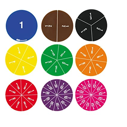 amazon com eai education deluxe fraction circles numbered set of