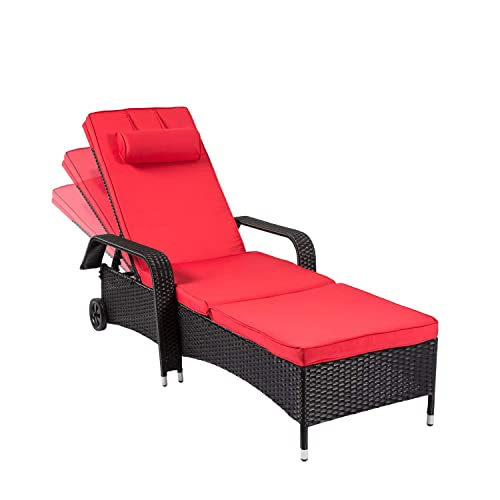 Kinsuite Outdoor Patio Furniture Outdoor Rattan Wicker Lounge Chair Set Adjustable Backrest Poolside Armrest Chaise with Wheel and Removable Cushions Red