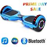 """NHT 6.5"""" inch Aurora Hoverboard Self Balancing Scooter With Built-In Bluetooth Speaker Colorful LED Wheels and Lights- UL2272 Certified Carbon Fiber Style Available"""