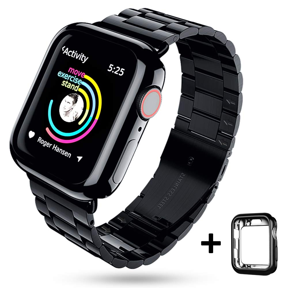 EPULY Compatible with Apple Watch Band with Case 42mm 44mm,Stainless Steel Metal Wristband Compatible with iWatch Series 5/4/3/2/1 Black by EPULY