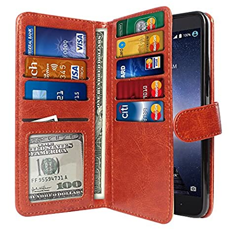 NextKin Case For ZTE Zmax Pro Carry Z981, Premium PU Leather Dual Wallet Folio TPU Silicone Cover, 2 Large inner Pockets Double flap Privacy, 9 Card Slots Holder Snap Button - Dark - Brown Phone