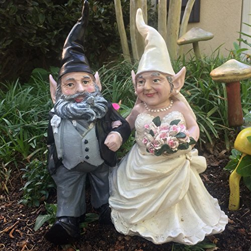 15″ Wedding Bride and Groom Love Couple Gnome Home and Garden Statue Figurine