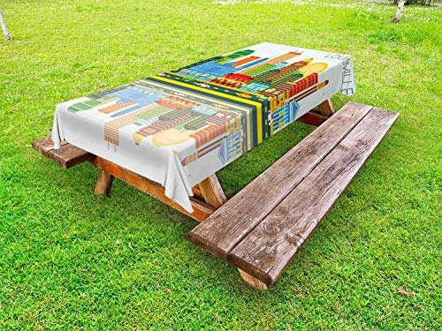 Lunarable Kentucky Outdoor Tablecloth, Colorful City Love Themed Pattern with Dotted Louisville Lettering Travel Concept, Decorative Washable Picnic Table Cloth, 58 X 84 Inches, Multicolor ()