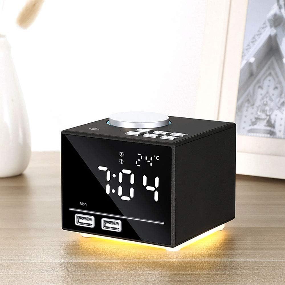 LEDU Radio Reloj Despertador con Altavoz Bluetooth, Cargadores de teléfono con USB Portcharging cabecera Despertador Altavoz del Jugador,Negro