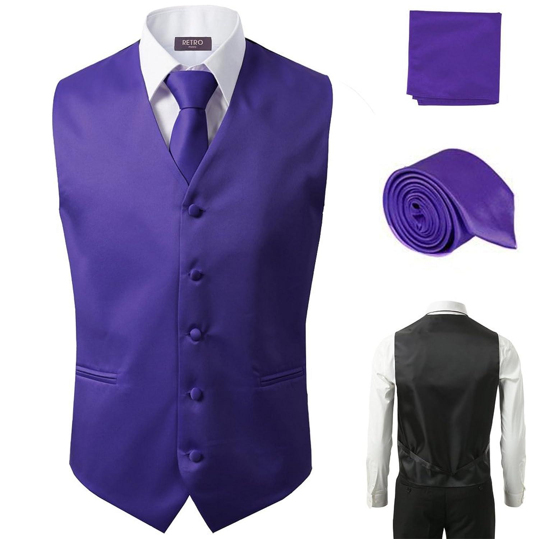3 Pcs Vest + Tie + Hankie Purple Fashion Men's Formal Dress Suit Waistcoat