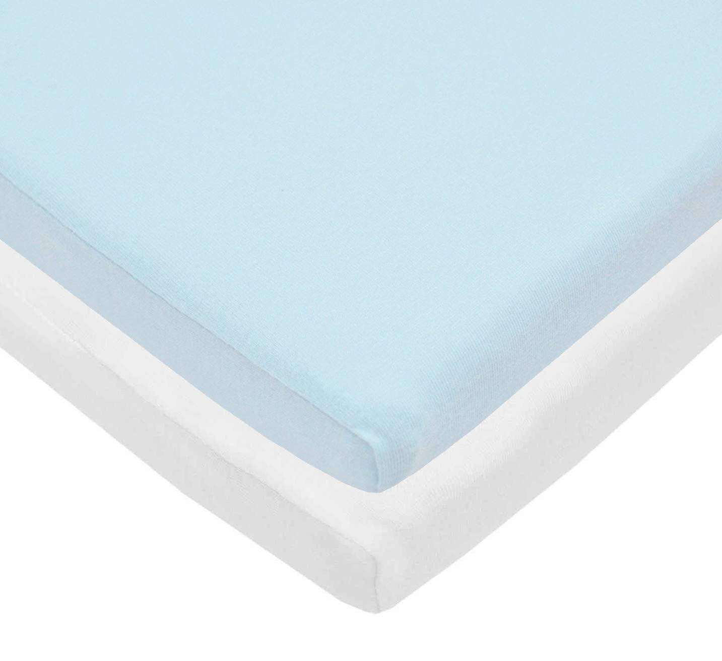 American Baby Company 2 Pack 100% Cotton Value Jersey Knit Cradle Sheet - Blue/White