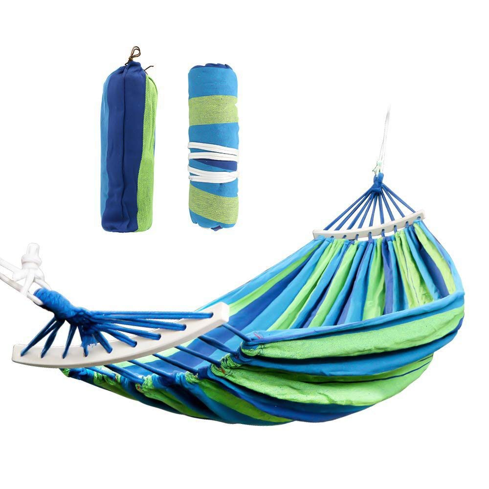cf2f3b93c41 Addigital Cotton Double Hammock Swing - Indoor Outdoor 2 Person Hammock  with Spreader Bar, Portable Camping Hammock for Backyard Porch Traveling  Tree Beach