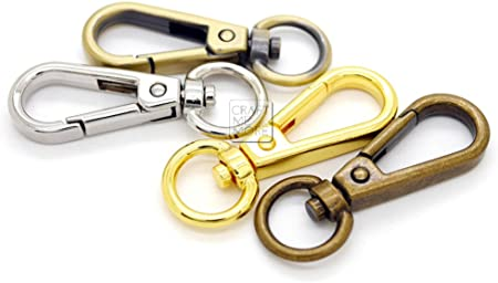 CRAFTMEmore 2 Sets 1 Swivel Snap Hooks Lobster Clasp Push Gate Fashion Clips with 1 D Rings Bag Leather Craft Accessories Silver, 1 Inch